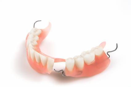 a partial lower denture on a white backdrop | dentures hershey PA